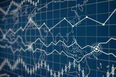 Carta do gráfico de negócio na tela digital Fotos de Stock