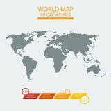 Carta do mapa do mundo do vetor Foto de Stock