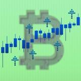 Carta do mercado do crescimento de Bitcoin e setas ascendentes com efeito do borrão ilustração 3D Fotografia de Stock Royalty Free