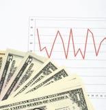 Carta do mercado de valores de ação com dinheiro foto de stock
