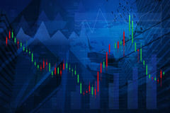 Carta do mercado de valores de ação com o mapa do ponto no fundo da cidade, elementos de Fotografia de Stock Royalty Free