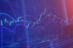 Carta do mercado de valores de ação, dados do mercado de valores de ação no azul no engodo da exposição de diodo emissor de luz Fotos de Stock Royalty Free