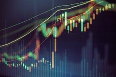 Carta do mercado de valores de ação, dados do mercado de valores de ação no conceito da exposição de diodo emissor de luz Fotos de Stock Royalty Free