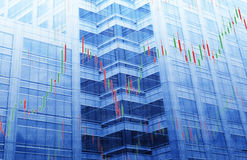 Carta do mercado de valores de ação na torre azul Fotos de Stock Royalty Free