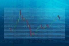 Carta do mercado de valores de ação na torre azul Foto de Stock Royalty Free