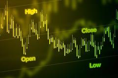 Carta do mercado de valores de ação no azul Imagens de Stock