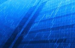 Carta do mercado de valores de ação no fundo azul da torre Fotografia de Stock