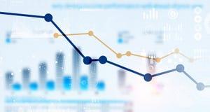 Carta do mercado de valores de ação no fundo azul Meios mistos Fotos de Stock