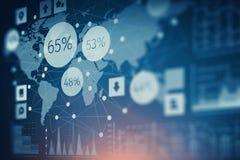 Carta do mercado de valores de ação no fundo azul Meios mistos Fotos de Stock Royalty Free