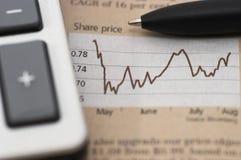 Carta do mercado de valores de acção, com pena, close up Imagem de Stock