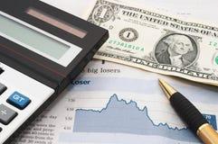 Carta do mercado de valores de acção, para baixo, perdas Imagem de Stock