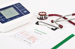 Carta do sinal do Vitals, gráficos médicos e pressão sanguínea de medição Imagens de Stock