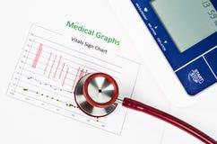 Carta do sinal do Vitals, gráficos médicos e pressão sanguínea de medição w Foto de Stock Royalty Free