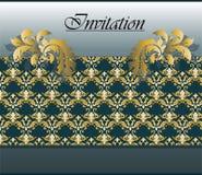 Carta dorata classica dell'invito Immagine Stock