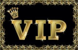 Carta dorata della corona di VIP, vettore Immagine Stock Libera da Diritti