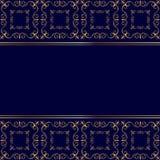 Carta dorata su fondo blu Fotografia Stock