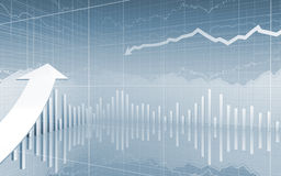 Carta dos dados do mercado de valores de acção acima da seta Fotos de Stock