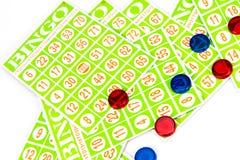 Carta e chip di bingo Fotografia Stock Libera da Diritti