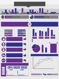 Carta e gráfico de elementos de Iinfographic Fotos de Stock