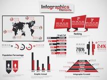 Carta e gráfico de elementos de Infographic Foto de Stock Royalty Free