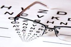 Carta e vidros de olho imagens de stock