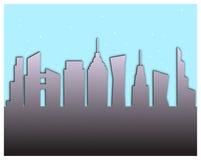 Carta-effetto dell'illustrazione della siluetta dell'orizzonte della città nel grey blu e porpora illustrazione di stock
