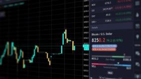 Carta em linha da moeda do bitcoin, tendências da finança, troca cripto do currecy e comércio eletrônico, estado do mercado finan filme