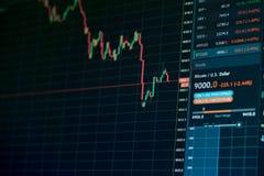 Carta en línea de la tendencia bajista del mercado de acción de la moneda de Bitcoin - inversión, comercio electrónico, concepto  Foto de archivo libre de regalías