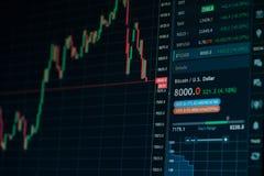 Carta en línea de la tendencia bajista del mercado de acción de la moneda de Bitcoin - inversión, comercio electrónico, concepto  Fotos de archivo