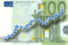 Carta euro ascendente Imagen de archivo libre de regalías