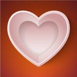 Carta felice 3D di amore di giorno di S. Valentino del cuore di vettore Fotografia Stock