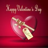 Carta felice del cuore del biglietto di S. Valentino Immagine Stock Libera da Diritti