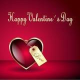Carta felice del cuore del biglietto di S. Valentino Fotografia Stock