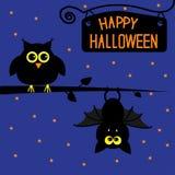 Carta felice del gufo e del pipistrello di Halloween. Fotografia Stock