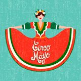 Carta felice del partito del de Mayo di cinco con la ragazza messicana