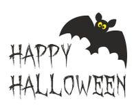 Carta felice del partito di Halloween con il pipistrello Fotografia Stock