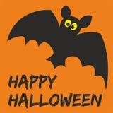 Carta felice del partito di Halloween con il pipistrello ed i desideri Immagine Stock Libera da Diritti