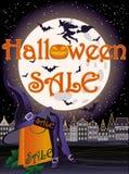 Carta felice della strega di vendita di Halloween Fotografie Stock