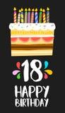 Carta felice 18 della torta di compleanno un partito da diciotto anni Fotografia Stock