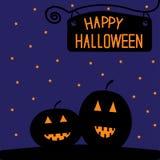 Carta felice della zucca di Halloween. Notte stellata. Immagine Stock Libera da Diritti