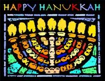 Carta felice di Chanukah con un Hannukia illustrazione di stock