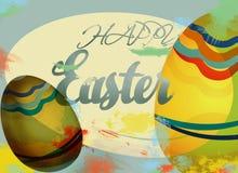 Carta felice di festa di Pasqua con le uova Fotografie Stock Libere da Diritti