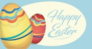 Carta felice di festa di Pasqua con le uova Immagini Stock Libere da Diritti