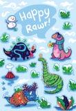Carta felice di feste con i dinosauri del fumetto in decorazioni nevose Illustrazione di vettore illustrazione di stock
