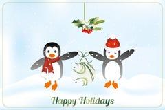 Carta felice di feste con i pinguini Fotografia Stock