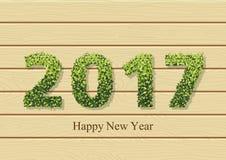 Carta felice di feste con le foglie su testo 2017 Royalty Illustrazione gratis