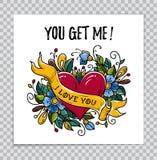 Carta felice di giorno di biglietti di S. Valentino con cuore, fiore, testo illustrazione di stock
