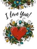 Carta felice di giorno di biglietti di S. Valentino con cuore, fiore, testo illustrazione vettoriale