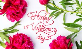 Carta felice di giorno di biglietti di S. Valentino con le rose rosse su bianco immagini stock libere da diritti