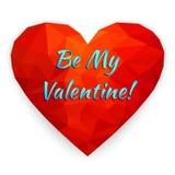 Carta felice di giorno del ` s del biglietto di S. Valentino con cuore poligonale Illustra di vettore Immagini Stock Libere da Diritti